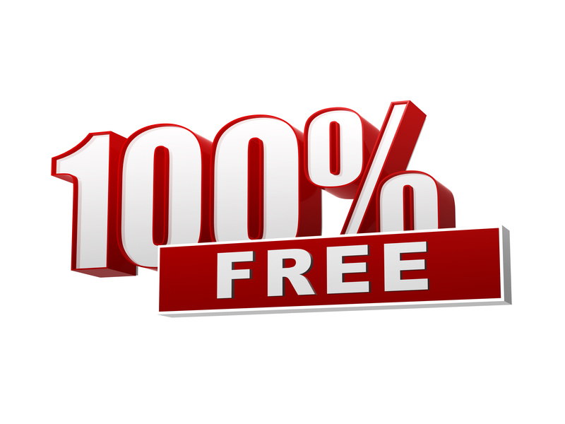 100 percentages free red white banner - letters and block